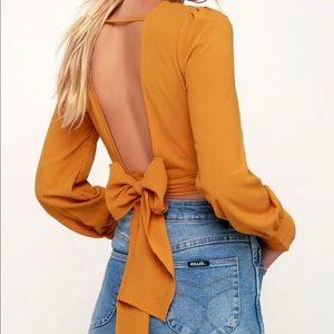 Golden Yellow Long Sleeve Backless Crop Top